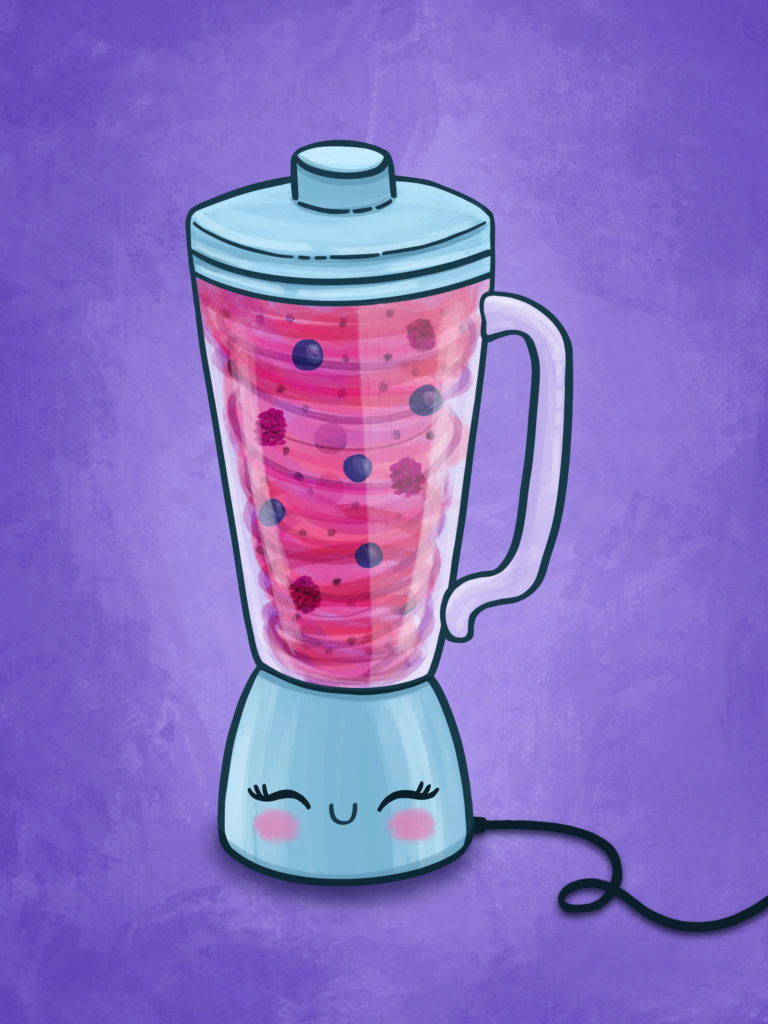 berry smoothie swirls in blender and smiles