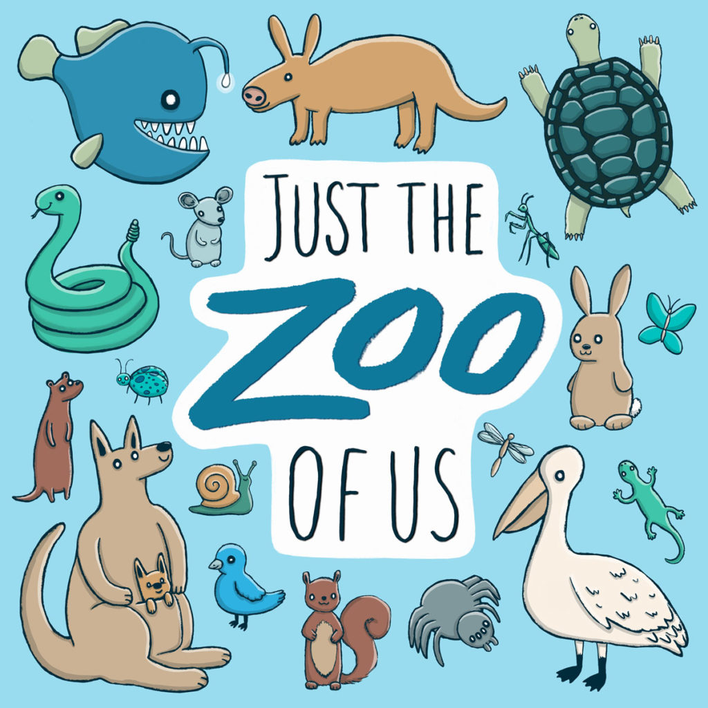 just the zoo of us podcast cover art with variety of animals