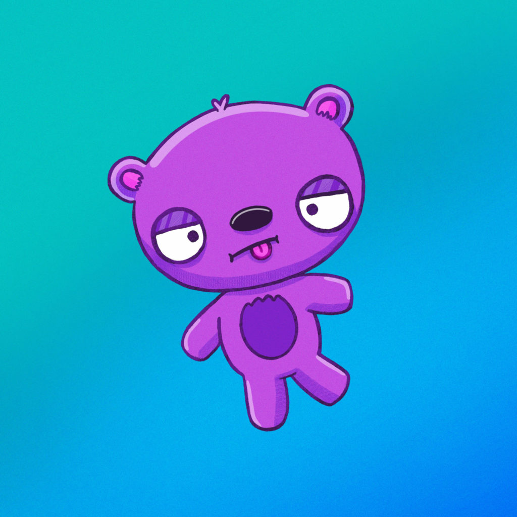 silly purple bear standing on one foot